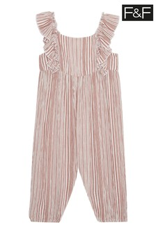 F&F Multi White Striped Jumpsuit