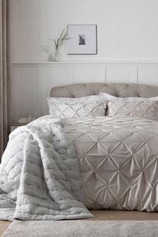 All Over Pleated Velvet Duvet Cover and Pillowcase Set