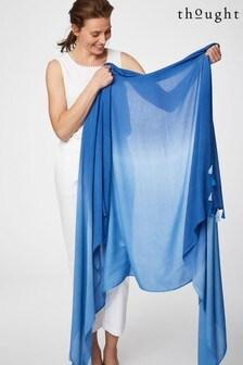 Thought藍色紮染紗籠圍巾