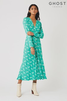 Ghost London Green Laura Shooting Star Print Crepe Dress