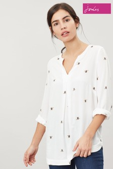 Joules Cream Rosamund V-Neck Woven Top
