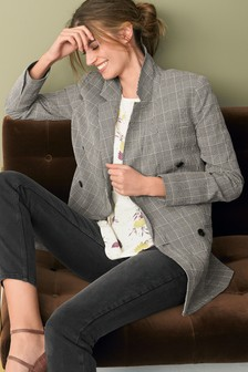 Check Long Line Double Breasted Blazer