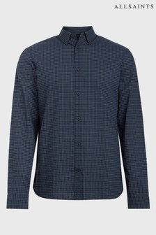 AllSaints Indigo Black Check Rosston Shirt