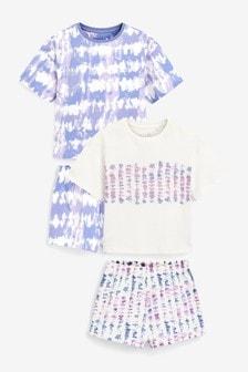 2 Pack Cotton Jersey Slub Short Pyjamas (3-16yrs)