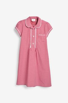 Button Front Lace Gingham Dress (3-16yrs)