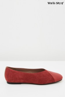 White Stuff Red Betsy Square Toe Ballerina Shoes