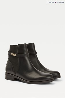 Tommy Hilfiger Black Block Branding Boots