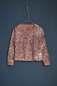 Sequin Crew Neck Party Top (3-16yrs)