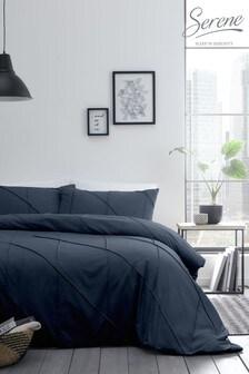 Serene Blue Dart Pleated Duvet Cover And Pillowcase Set