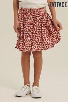 FatFace Red Daisy Button Through Skirt