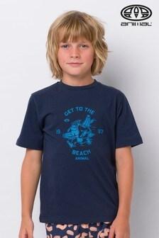 Modré tričko s nápisom Animal Mascot