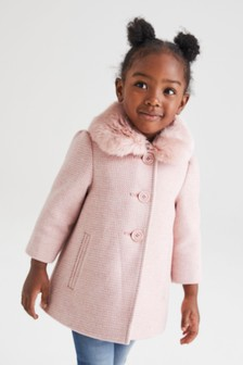 معطف بياقة بتشذيب فرو صناعي يمكن إزالتها (12 شهرًا - 7 سنوات)