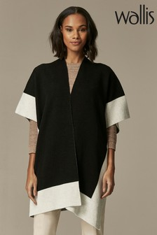 Wallis Black Colourblock Cape