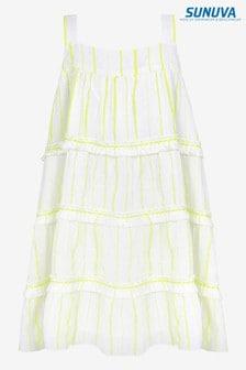 שמלת קומות פרנז׳ים עםפסים בצהוב ניאון שלSunuva