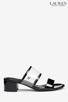Ralph Lauren Whitni Perspex Pantoletten aus Leder, schwarz