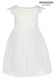 Monsoon乳白色嬰兒Estella連身裙