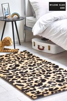 Myleene Klass Tan / Animal Faux Blană Leopard Rug