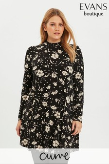 Evans Curve Black Spot And Floral Print Swing Tunic Top