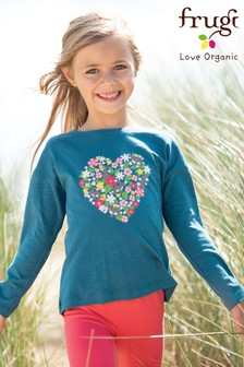 Frugi GOTS Organic Long Sleeve Top With A Heart Print