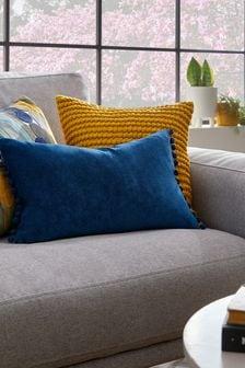 Rechteckiges Kissen aus weichem Velours mit Bommeln, Marineblau