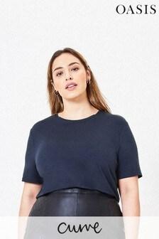 Oasis Blue Curve Step Hem T-Shirt