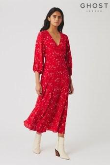 Ghost London Red Aueline Moon Print Crepe Dress