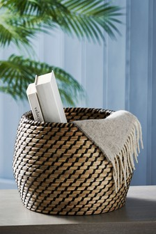 Black Woven Seagrass Storage Basket