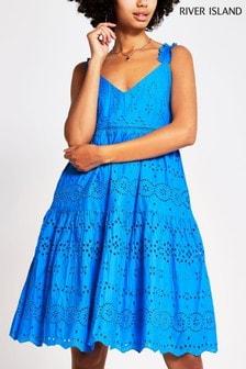 River Island Blue Bright Broderie Midi Dress