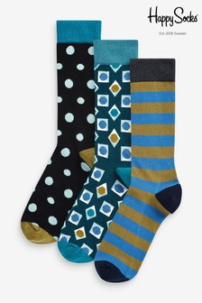 Happy Socks Blue Socks Three Pack Gift Box