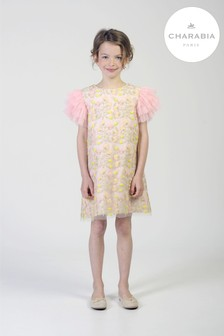 Charabia Pink Floral Jacquard Shift Dress
