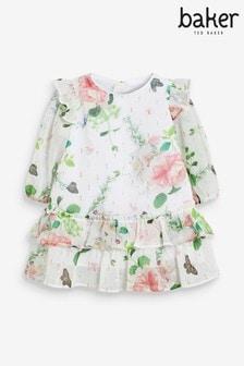 فستان أبيض بكشكشة على الحاشية منBaker by Ted Baker