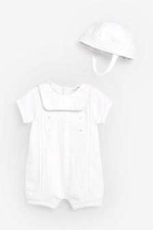 Тканый нарядный комбинезон и шапочка (0 мес. - 2 лет)