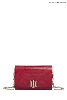 Tommy Hilfiger Red Lock Croco Crossover Bag