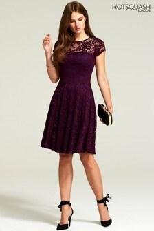 HotSquash Purple Lace Fit And Flare Dress