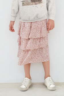 Metallic Waistband Floral Skirt (3-16yrs)