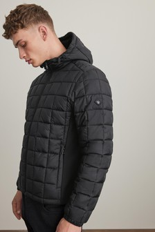 Shower Resistant Square Quilted Hooded Jacket (881757) | $80