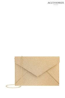Pochette Accessorize Lily dorée scintillante forme enveloppe