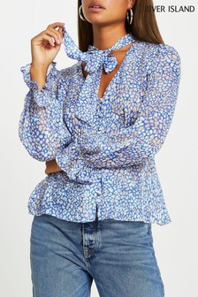 River Island Blue Spot Pussybow Blouse