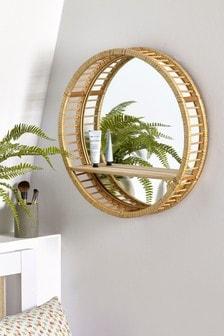 Wood And Rattan Shelf Mirror