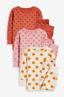 Set van 3 zachte pyjama's met stippen (9 mnd-12 jr)