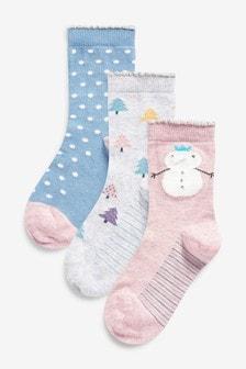 雪人襪子3對裝