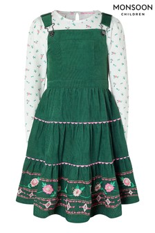 Monsoon Green S.E.W Embroidered Cord Pinafore & Top