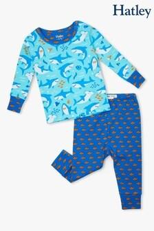 Пижамный комплект для малышей из органического хлопка с принтом акул в сине-голубой гамме Hatley