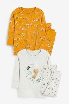 מארז 2 פיג׳מות נעימות עם אפליקציית חתול/הדפס פרחוני (9 חודשים עד גיל 8)