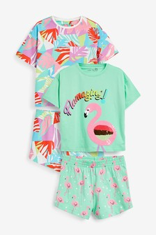 Set de 2 pijamale cu pantaloni scurți și model flamingo (3-16ani)