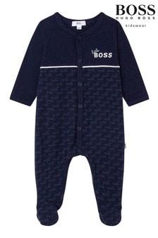 BOSS Navy Logo Sleepsuit And Hat Gift Set