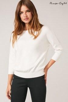 חולצת סריג שלPhase Eight דגםLennie עם רצועות מוצלבות בגב בצבע שמנת