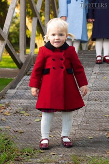 Trotters London Red Scalloped Edge Coat