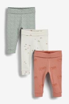 Set van 3 leggings met regenboogprint (0 mnd-2 jr)