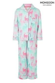 Monsoon Organic Horse Print Flannel Pyjama Set